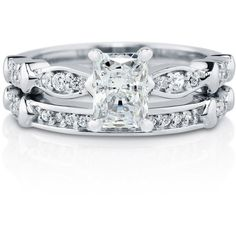 BERRICLE Sterling Silver 1.47 ct.tw Radiant CZ Solitaire Engagement... (€73) ❤ liked on Polyvore featuring jewelry, rings, cz solitaire ring, solitaire ring, cubic zirconia rings, round cut engagement rings and anniversary band rings