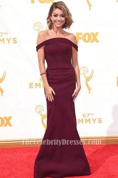 Sarah Hyland Burgundy Off-the-Shoulder Formal Dress 2015 Emmy Awards Red Carpet TCD6311