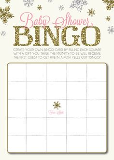 Baby Shower Bingo Card in Snowflake/Winter-Theme with Gold Glitter Effect    Interested in hosting a BINGO game at an upcoming shower, but dont