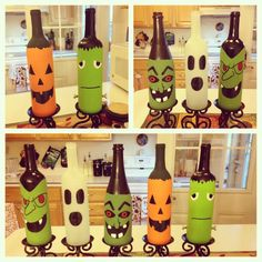 Halloween wine bottles I painted
