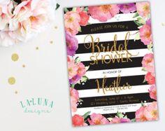 Bridal Shower Invitation Pink Floral Shower by LaLunaDesigns
