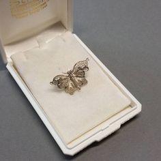 Kleine Brosche Schmetterling Silber 835 filigran Handarbeit