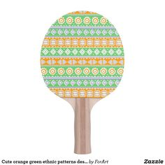 Shop Cute orange green ethnic patterns design Ping-Pong paddle created by ForArt. Ping Pong Paddles, Ethnic Patterns, Pattern Design, Orange, Green, Cute, Prints, Lovely Things, Color