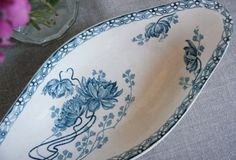 French Vintage Blue and OffWhite Oval Plate  by Chezpetitpica, €20.00