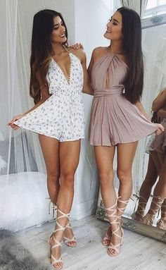 These babes! 💖👯 Our 'Evangeline playsuit in white' (left) with our 'Shine Together playsuit in mocha' (right) ✨ Shop now via the link in our bio 👆 Twin Outfits, Sexy Outfits, Sexy Dresses, Summer Outfits, Girl Outfits, Cute Outfits, Fashion Outfits, Summer Dresses, Elegantes Outfit Frau