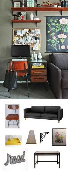 No extra room available for an office space? Then make it yourself! A small desk set-up in a living room can be brilliant, especially since it only takes up one vertical slot of space.