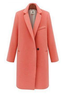210a79b7fc7 Salmon Pink Color Womens Winter Jackets Coats Single Button Long Plus Sizes