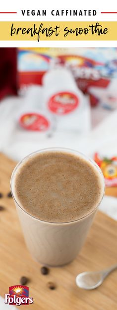 Start your morning off with all the flavor of your daily cup of coffee—and some extra tasty additions—thanks to this recipe for a Vegan Caffeinated Breakfast Smoothie! Along with Folgers® Classic Roast K-Cup® Pods, this combination of soy milk, soy yogurt, banana, and cinnamon is sure to be your new favorite breakfast treat. Easy and delicious, make sure to pick up all the ingredients you'll need to add this drink to your daily routine at ShopRite. Vegan Smoothies, Smoothie Drinks, Smoothie Recipes, Drink Recipes, Vegan Dishes, Vegan Foods, Vegan Desserts, Vegan Breakfast, Breakfast Smoothies