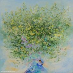 Original OIL PAINTING Bird Forest Floral Large by CanisArtStudio