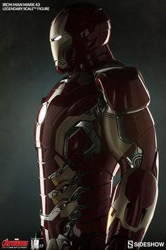 The Iron Man Mark 43 Legendary Scale Figure is now available at Sideshow.com for fans of Marvel Avengers Age of Ultron.