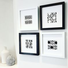 Black White Tribal Art Gallery Wall Set Modern Boho