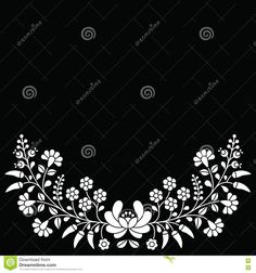 Hungarian White Floral Folk Pattern - Kalocsai Embroidery With Flowers And Paprika - Download From Over 59 Million High Quality Stock Photos, Images, Vectors. Sign up for FREE today. Image: 75539905