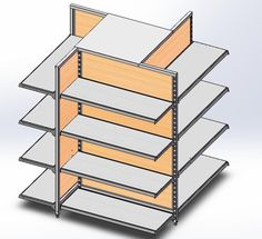 4-way shelving, with MDF back panel, more items @ Linkup Store Equipment Co., Ltd.