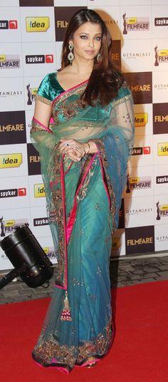 Aishwarya Rai in blue net saree