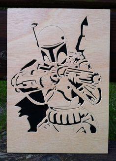 Boba fett star wars cuadro de madera por Planetasierra en Etsy, €21.99