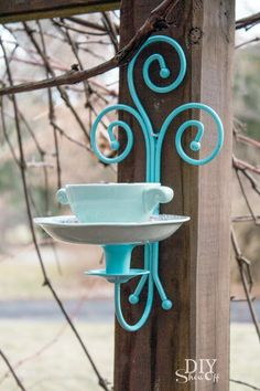DIY tea cup candle sconce bird feeder