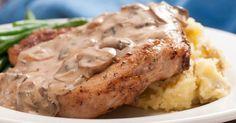 Tyler Florence's Smothered Pork Chops, Homemade Buttermilk Gravy To Die For! Mushroom Pork Chops, Mushroom Gravy, Butter Mushroom, Mushroom Sauce, Creamed Mushrooms, Stuffed Mushrooms, Stuffed Peppers, Pork Ham, Homemade Buttermilk