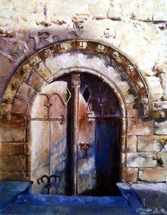tableau porte de St Loup Boudes Auvergne, chapelle du XIIIe : Peintures par anne-courtine