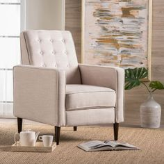 Mervynn Mid-Century Button Tufted Fabric Recliner Club Chair by Christopher Knight Home - Overstock - 15037715 - muted purple + dark espresso Living Room Chairs, Living Room Decor, Dining Room, Small Recliners, Modern Recliner, Black Furniture, Modern Furniture, Rustic Furniture, Outdoor Furniture