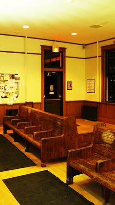 Deerfield, IL:  Interior view of the historic Chicago, Milwaukee, St. Paul & Pacific (now Milwaukee Road) Metra commuter rail station restored and placed on the National Register of Historic Places through the efforts of the Deerfield Historical Society.
