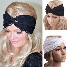 Elastic Wide Lacy Head Band for Girl and Women Hair Wide Turban Twisted Headwrap Women Bandanas Headband 2pc * Check this awesome product by going to the link at the image. (This is an Amazon affiliate link)