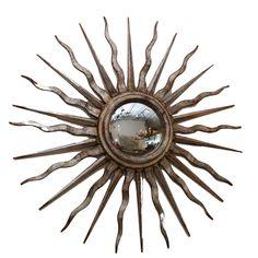 Antique, Italian sunburst mirror with convex mirror