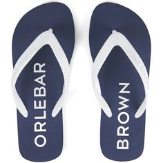 Orlebar Brown Men's Watson Flip Flops - Navy/White (180 BRL) ❤ liked on Polyvore featuring men's fashion, men's shoes, men's sandals, men's flip flops, mens white flip flops, mens sandals, mens white sandals, mens white shoes and mens flip flops