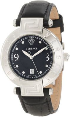 Versace Women's 68Q99SD009 S009 Reve 3 H Black Dial Genuine Leather Diamond Watch Versace. $1025.00. Black matte dial with 8 diamonds. Date at 6 o'clock. Second hand feature; Black calf strap cocco pattern with butterfly buckle. Precise Swiss Quartz RONDA 785 movement. Water-resistant to 165 feet (50 M)