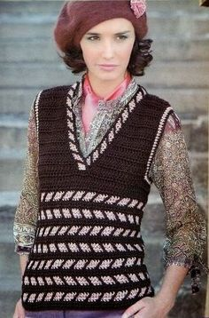 Patrones Crochet: Chaleco Crochet-Tricot a 2 Colores