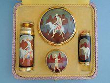 Art Deco Make-Up Set - Compact, Lipstick, Rouge Pot, L'Aiglon Perfume Atomiser