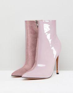 41e67aa9aaa Public Desire Yuri Lilac Contrast Stiletto Heeled Ankle Boots