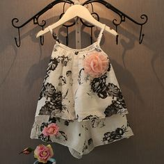 2016 Zomer Nieuwe Kinderkleding Meisjes Sets Pastorale Kleine Bloemmotief Mode Stijl Past Kinderkleding