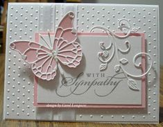 handmade sympathy card from Our Little Inspirations ... pink and white ... luv the layered Memory box butterfly and flourish with leaves ...