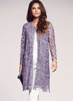Add this chic longline lace jacket to your occasion wear wardrobe this season. Floral lace lends a timeless and feminine appeal to outwear and this design Lace Jacket, Jacket Dress, Plus Size Dresses Uk, Mode Hijab, Groom Dress, Occasion Wear, Indian Outfits, Plus Size Fashion, Designer Dresses