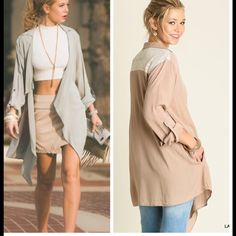 •tan water all cardi• Cardigan features lace back with waterfall front.  Sleeves roll up and button.  Material is 65%cotton and 35% poly. Length is about 32-33 inches long ❌price firm unless bundled❌ COLOR IS TAN- other photos to show details. Other colors listed in my closet as well. Sweaters Cardigans