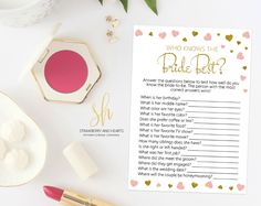 Get the party started with fun 'Who knows the bride best' game! This game is the perfect ice breaker for any bridal shower or bachelorette party. #printable #bridalshower #bridalshowergames #bridalgames #bridalshowerstationery #bridalstationery #bachelorette #bachelorettegames #bachelorettepartygames #SHdesigns