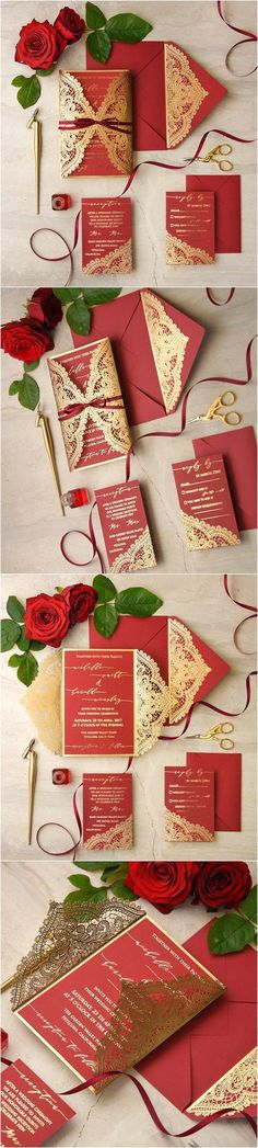gold and red laser cut wedding invitations  / http://www.deerpearlflowers.com/laser-cut-wedding-invitations/