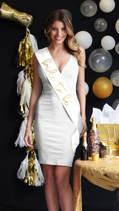 A modern gorgeous sash for the Bride to be in Metallic Gold Foil on white satin (12 other colors available).