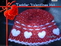 Sweet Little Toddler Valentine hat I came up with.  I love the sparkly red yarn!!  Crochet Rox