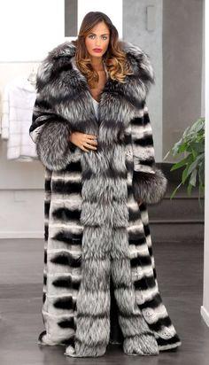 ElsaFur - silver fox, chinchilla fur coat vanity at its worst
