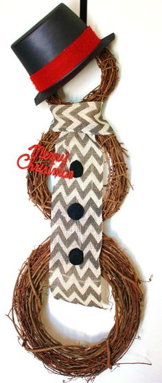 Chevron snowman wreath