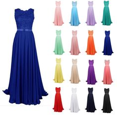 New Lace Applique Bridesmaid Dress Long Chiffon Formal Evening Prom Party Gowns #Unbranded
