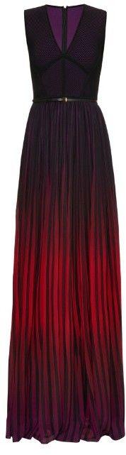 ELIE SAAB Dégradé stretch-knit and georgette gown