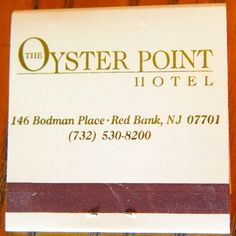 The Oyster Point Hotel #matchbook To order your business' own branded #matchbooks and #matchboxes, go to www.GetMatches.com or call 800.605.7331 today!