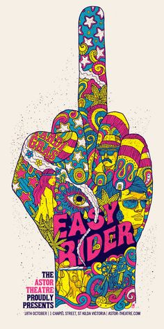 Robert Lee (Methane Studio), illustration for a screening of Easy Rider at the Astor Theatre, Melbourne, Australia, 2010.