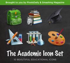 Awesome Academic Icon Set PSD. free set of icons related to education and academia. The icons are available as transparent PNGs as well as Photoshop PSDs in a size of 128x128 pixels. This beautiful icon set consists of 10 images related to education and academia. They are provided both as 128-pixel PNGs and in the original PSD format. The icons included are: Backpack Blackboard Books Calculator Math equipment Dictionary Globe Mortarboard and hat Artist's palette Science equipment.  #academic…