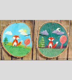 Kids art FOX on WOOD  Acrylic painting on wood por SandraArtStudio