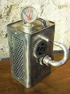 punk lamp made from old oilcan