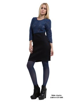 Dress Lucie: Long sleeves dress. Blue cobalt lace top and navy blue skirt.