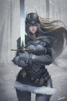 Kai Fine Art is an art website, shows painting and illustration works all over the world. Fantasy Warrior, Fantasy Girl, Warrior Girl, Fantasy Women, Fantasy Rpg, Medieval Fantasy, Fantasy Artwork, Dark Fantasy, Anime Warrior